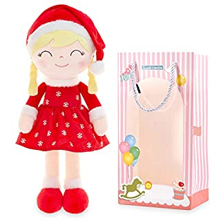 Gloveleya Christmas Doll Baby Girl Gifts Soft Plush Toy Santa Costume Red 14 Inches with Gift Box (Limited Edition)