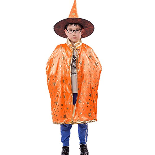 Halloween Costumes, Efaster Halloween Kids Star Pattern Cloak Sorcerer Hat Halloween Props Set (Orange)