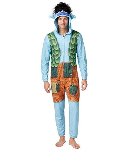 Briefly Stated Mens Hooded Trolls Costume Body Suit Pajama
