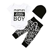 Newborn Kid Outfits Set,Baby Boy Clothes Letter Romper Bodysuit Pants Hat (0-6 Months, White)