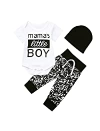 GorNorriss Baby Set Newborn Kid Boy 3PCs Letter Mama's Little BOY Romper Bodysuit Pants Hat Outfits