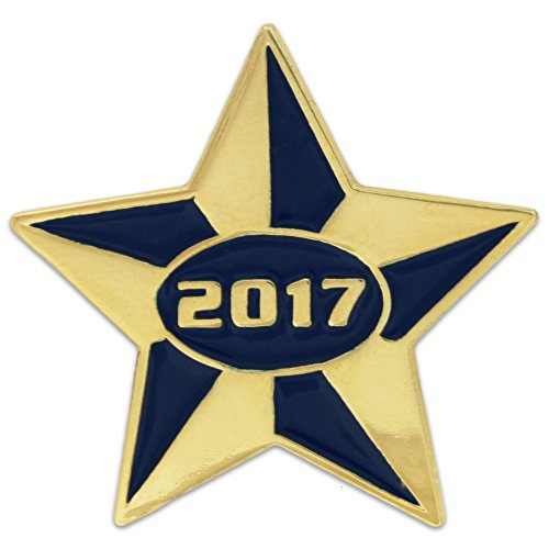 PinMart's 2017 Blue and Gold Star Class of School Graduation Enamel Lapel Pin by PinMart