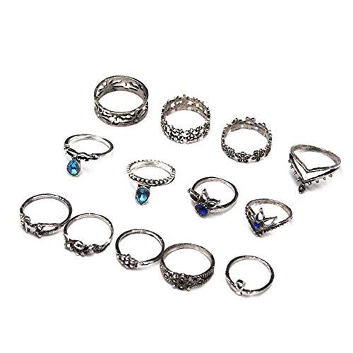 Gudukt Vintage Knuckle Ring Set Womens Statement Crown Chevron Unicorn Flower Ankh Joint Knuckle Rings -