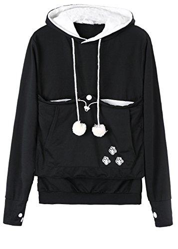 Anbech Women Big Kangaroo Pouch Hoodie Long Sleeve Pet Cat Dog Holder Carrier Sweatshirt S-4XL (Black, 4XL)