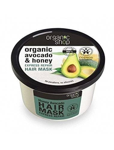 ORGANIC SHOP - Masque Après-Shampoing Avocat et Miel - Soin Intensif - Avec une action de restructuration, à base d'huile biologique et à l'avocat du miel biologique - 250 ml