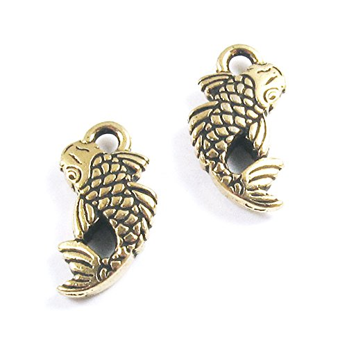 (TierraCast Pewter Charms-ANTIQUE GOLD KOI FISH (2) )