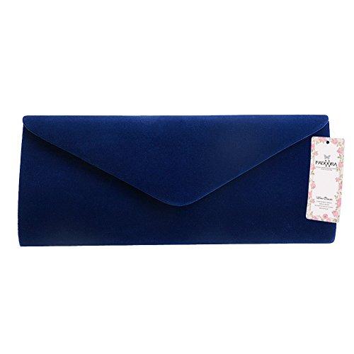 Padoora Ladies Velvet Evening Clutch Handbag Chain Bag Formal Chain Shoulder Tote Purse (Royal Blue)