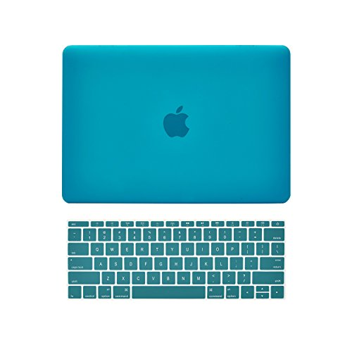 TOP CASE - 2 in 1 Rubberized Hard Case Cover and Matching Color Keyboard Cover Compatible with Apple MacBook 12