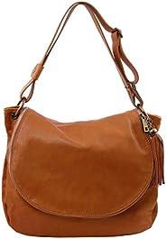 Tuscany Leather TLBag Soft leather shoulder bag with tassel detail Cognac