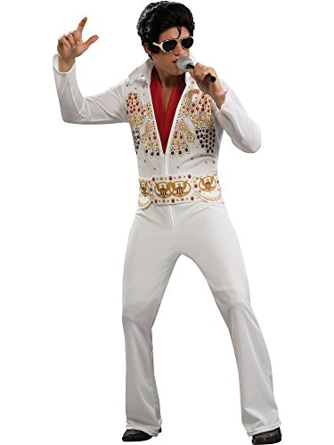 Aloha Elvis Adult Costume,White,Medium