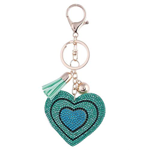 Heart Purse Valet - Womens Heart Pendant Golden Plated Keychain Leather Tassel Crystal Rhinestone Bag Purse Car llaveros Key Chains Jewelry Key Ring Holder FT023
