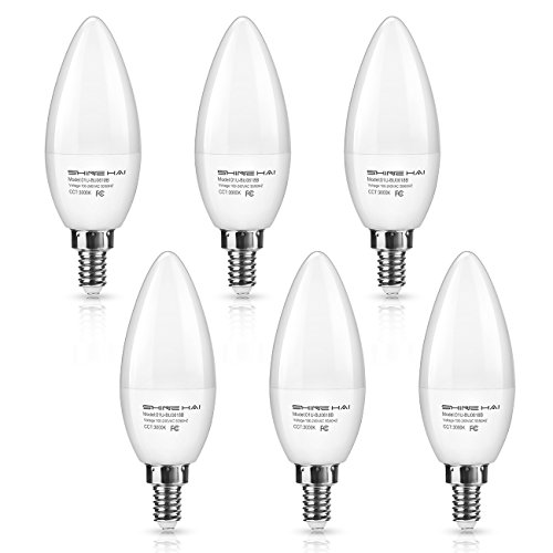 SHINE HAI Candelabra LED Bulbs 50W Equivalent, 500 Lumens 3000K Warm White Decorative Candle Light Bulb E12 Base, Chandelier B11 LED Light Bulbs, Pack of 6 6 Candle Chandelier