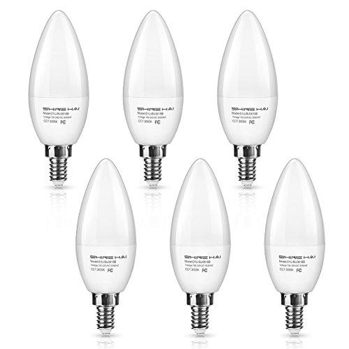 SHINE HAI Candelabra LED Bulbs 50W Equivalent, 500 Lumens 3000K Warm White Decorative Candle Light Bulb E12 Base, Chandelier B11 LED Light Bulbs, Pack of 6 E12 Base