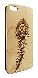 Genuine Maple Wood Organic Peacock Feather Snap-On Cover Hard Case for iPhone 4/4S