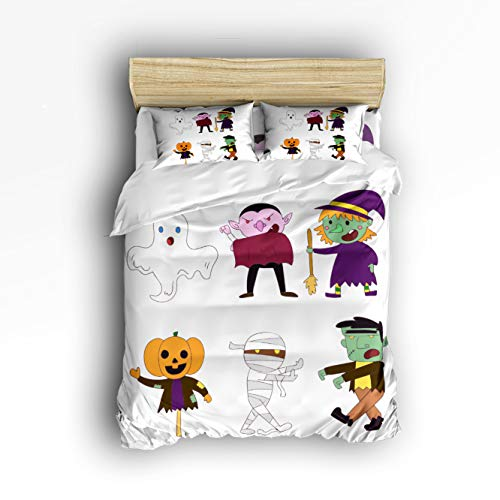 Happy Halloween Funny Cartoon Character Clipart 4 Piece Duvet Cover Bedding Sets 100% Polyester Fiber Comfortable Breathable Soft Material for Childrens/Kids/Teens/Adults -