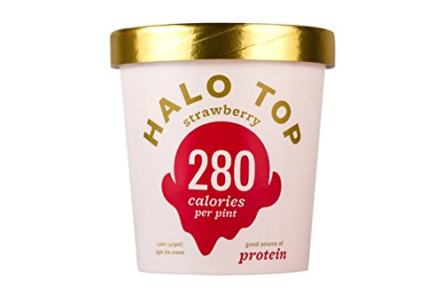 Halo Top Ice Cream Pint, Strawberry, 16 Ounce (Pack of 8) (Top Cream Ice)