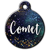 Galaxy pet id tag, Stars Pet Tag, Gold pet tag, Outdoor pet tag, unique pet id tag, dog tag for dogs,personalized aluminum pet id tag