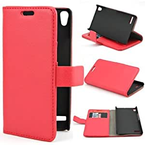 Cerhinu Wallet Litchi Stand Leather Flip with Credit Card Holder Case Cover for Huawei Ascend P6 Red + 1 gift