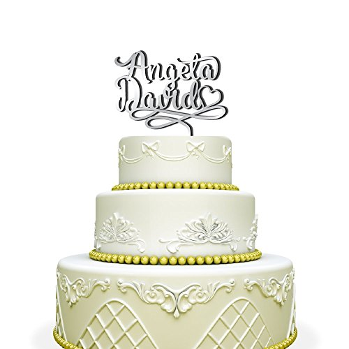 Personalized Custom Wedding Cake Topper with names and heart Mirrored Silver