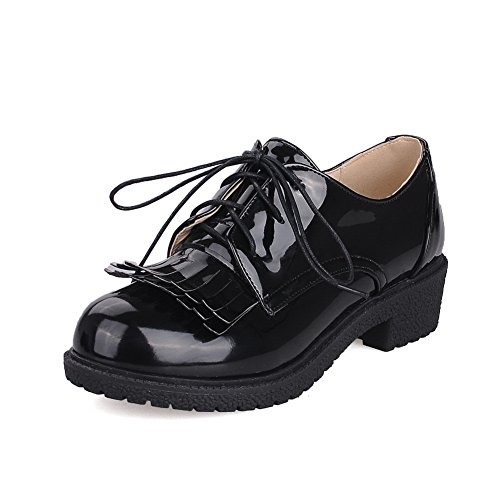 Women's Round Toe Square Heel Korean Casual Shoes with Buckle Black - 8