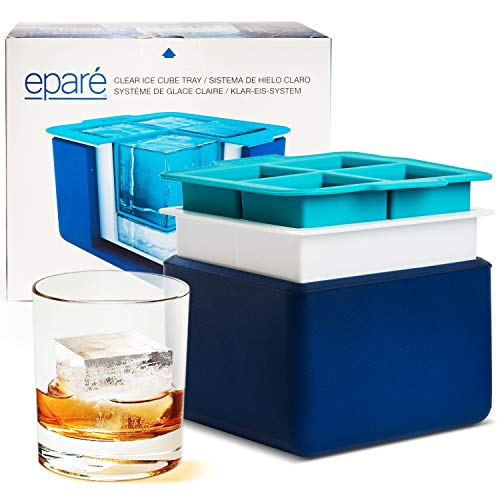 Small Clear Cube - Eparé Clear Ice System - Mold Makes 4 Large Crystal Clear Ice Cubes - Compact Tray Makes Perfect 2 Inch Block Ice Cubes
