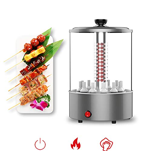 Electric Grill,Multi-Function Countertop Oven,Automatic Rotation Indoor Small smokeless Lamb Machine Barbecue Cup Gift Ceramic Head Anti-scalding Gloves Bamboo Stick Iron Sign