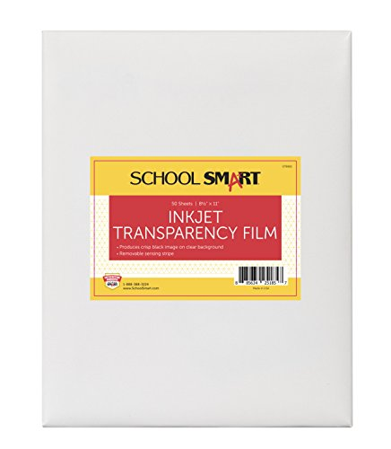 School Smart Inkjet Transparency Film with Removable Strip - 8 1/2 in x 11 in - Pack of 50