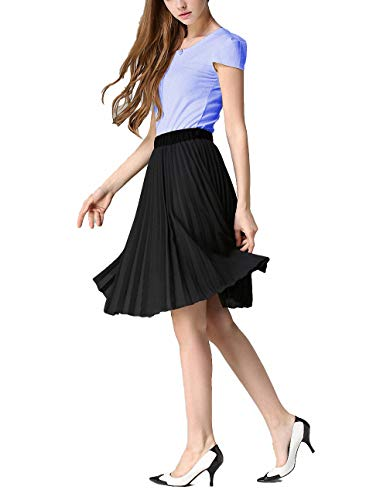 EAGOOL Summer Women's Chiffon Pleated A-Line Skirt (XL, Black)