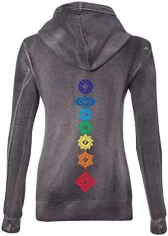 Yoga Clothing For You Ladies Floral Chakras Angel Fleece Zip Hoodie