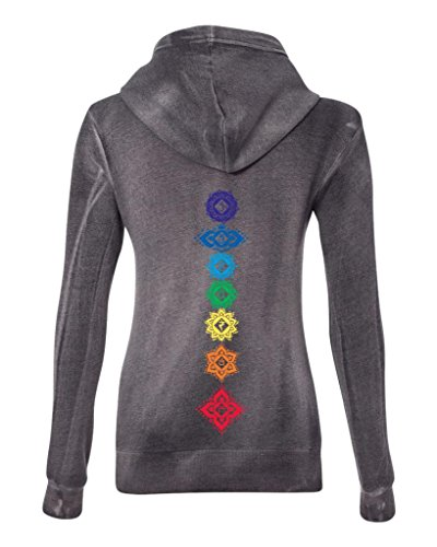 - Ladies Floral Chakras Angel Fleece Full-Zip Hoodie, XL Graphite (mid-Back Print)