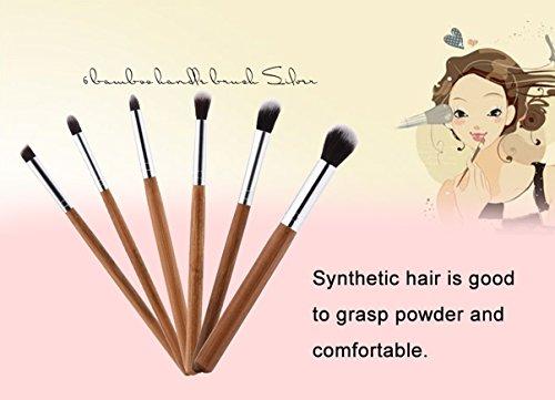 6 Piece Bamboo Handle Makeup Brush Set Cosmetics Make Up Too