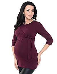 Purpless Maternity Lovely 2in1 Maternity And Nursing 3/4 Sleeved Wrap Top 7735
