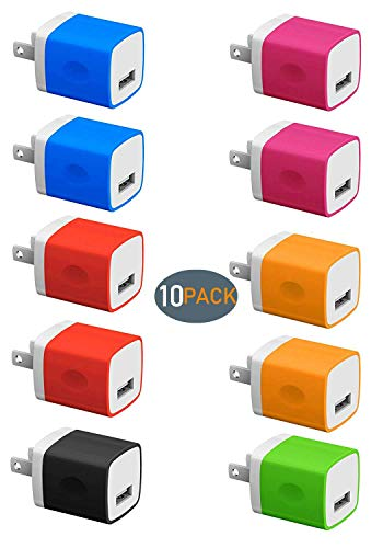 Boost Chargers 5V USB Wall Charger Power Adapter 1A Cube for Plug Outlet Compatible for Smart Phone 8 / X / 7 / 6S / Plus +, Android, Motorola, HTC, LG, Other Gadgets - 10-Pack