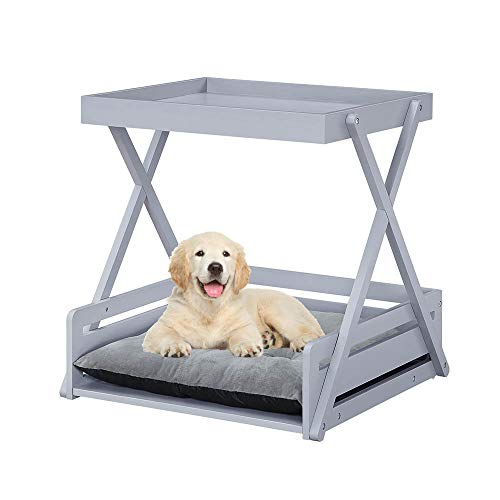 unipaws Pet Dog Bed Frame with Removable Cushion, End Table Cat Lounge, Multi-Functional Wooden Pet Furniture, Suitable for Puppy and Kitten, Gray