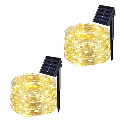 JMEXSUSS 2 Pack Solar String Lights 8 Modes 100 LED 32.8ft Solar Powered Waterproof Fairy Copper Wire Lights for Christmas, Bedroom, Patio, Wedding, Party, Outdoor Decorative (Warm White)