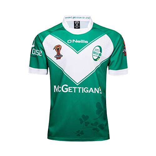 Ageaoa Men's Ireland Rugby World Cup Home Pro Short Sleeve Rugby T-Shirt Mens Official Ireland Vapodri Light T-Shirt,Green,L