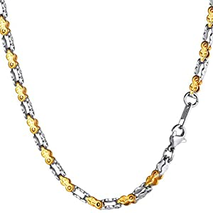 PROSTEEL Bike Chain Necklace,Cross,Hip Hop Jewelry,Two-Tone Chain Necklace,Men,22″,Thin,0.16″ Wide,Gift for Him,316L Stainless Steel,18K Gold Plated,Black Gun Plated