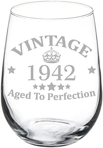 Wine Glass Goblet 77th Birthday Vintage Aged To Perfection 1942 10 oz
