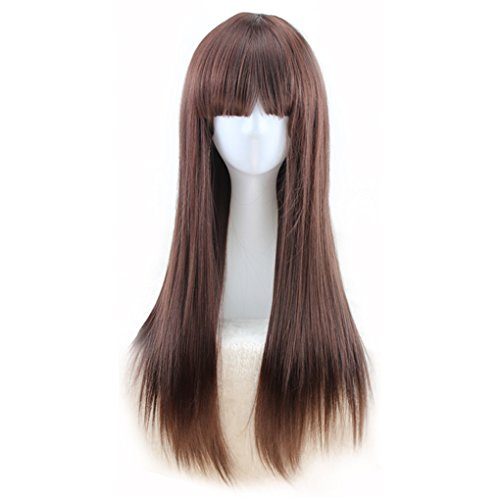 KUPARK 70cm Synthetic Hair Long Straight Wigs Cosplay Anime Costume, Dark -