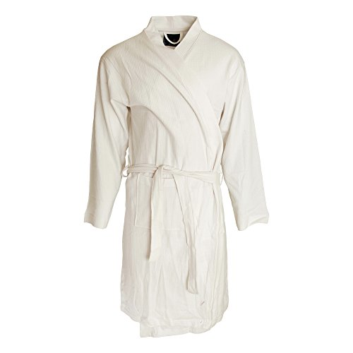 Buy mens waffle dressing gown white - 5