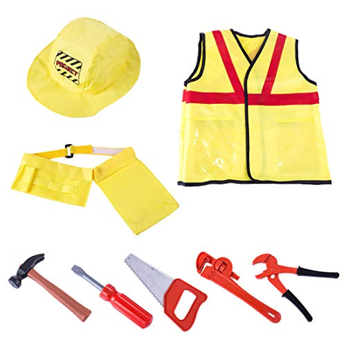 Haoun Worker Costume Set,8 Pcs Engineering Dress up