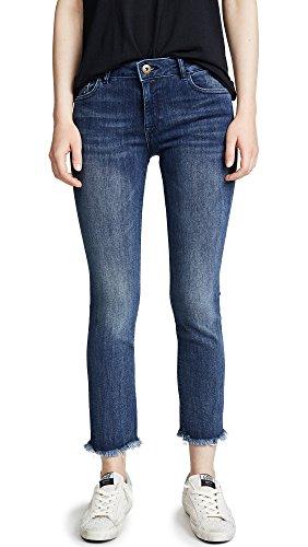 Alia Denim Jeans - DL1961 Women's Mara Instasculpt Straight Cropped Jeans, Alias, Blue, 27