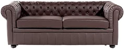 Beliani Chesterfield - Sofá marrón - Cuero Piel Sofá/sofá ...