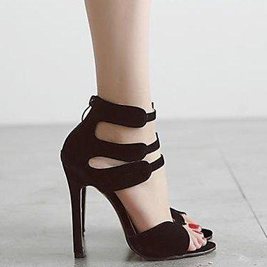 LvYuan Mujer Sandalias Vellón Verano Encaje Cosido Tacón Stiletto Negro Rojo 10 - 12 cms Black