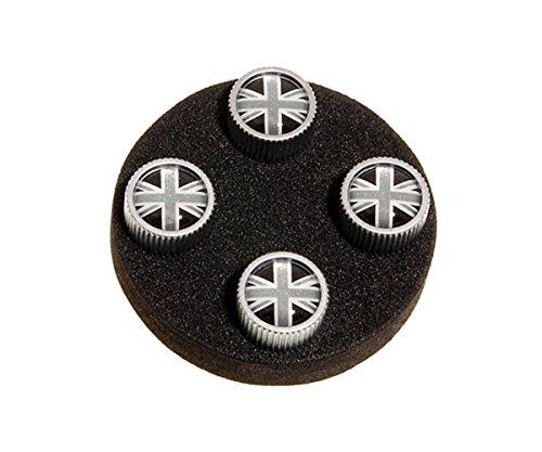 (Land Rover Genuine Tyre Valve Cover Grey & Black Union Jack Design Set of 4 Part#)
