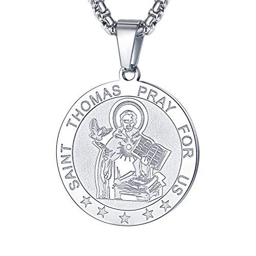 FaithHeart Saint Thomas Aquinas Necklace Stainless Steel Catholic Patron Saint Medal Pendant Jewelry (Silver/Round)
