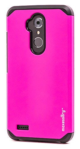 ZTE Max XL Case, Maxessory Hot Pink Globetrotter Heavy-Duty Protective Hybrid Cover w/Durable Shock-Absorbing Full-Body Protective Tough Hard Shell ()