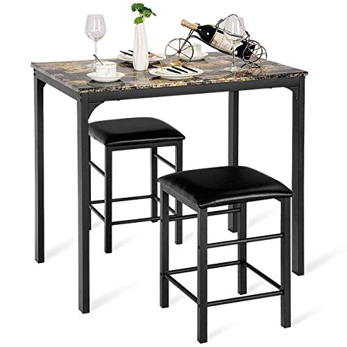 Person Bar Set - Casart 3 PCS Table Set Faux Marble Counter Home Kitchen Bar Dining Table with 2 Stools