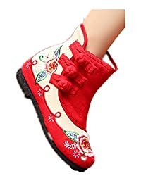 Tianrui Crown Women And Ladies Embroidery Spring And Fall Patchwork Flat Ankle Boot Shoe