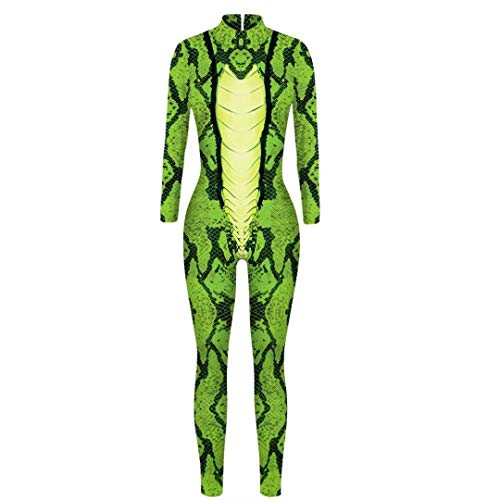 Szytypyl Womens Halloween Costume Sexy Bodysuit Snake 3D Print Cosplay Jampsuit Rompers